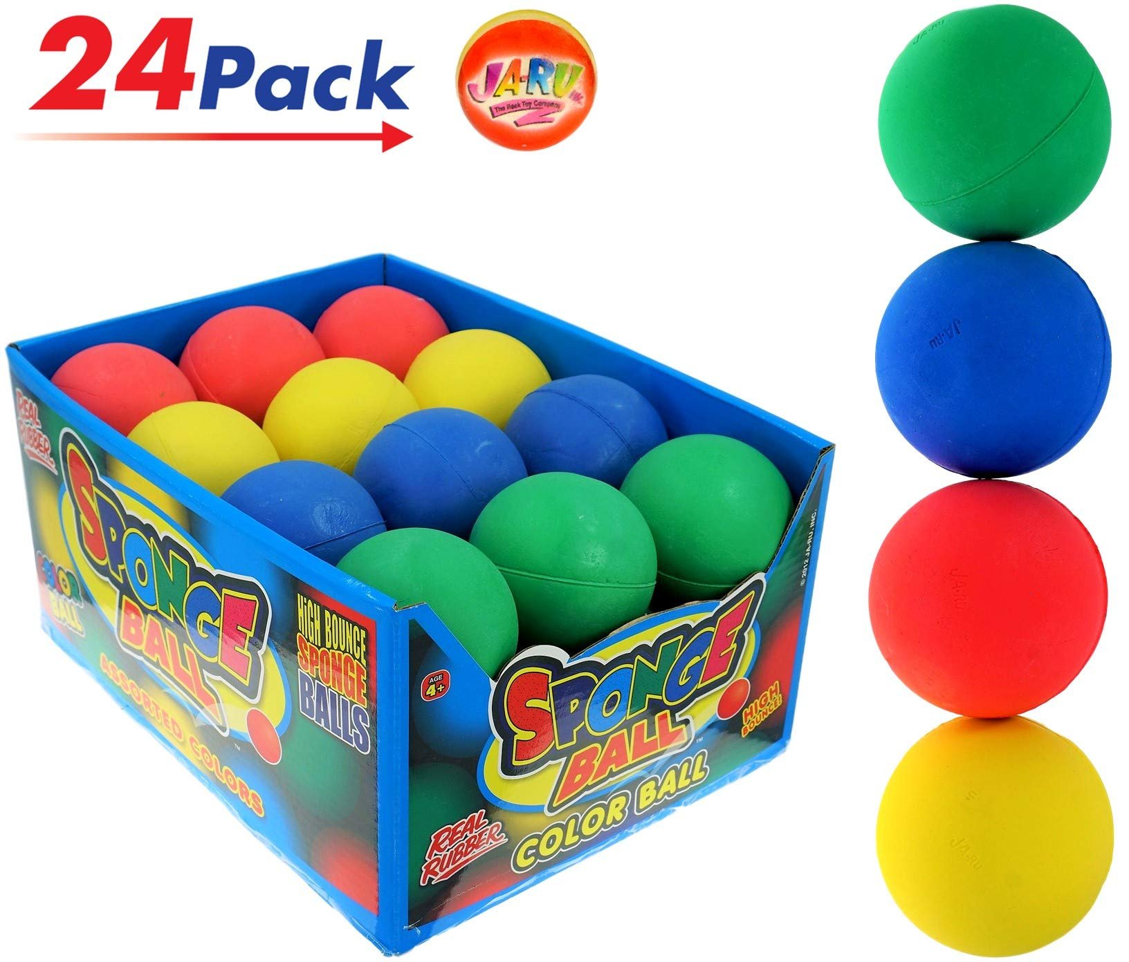 Rubber Bouncy Ball Colors Style (Pack of 24) 2.5'' Hi Bounce Same Like Pinky Balls for Play or Massage Therapy. Plus 1 Small JA-RU Ball. # 978-24p by JaRu