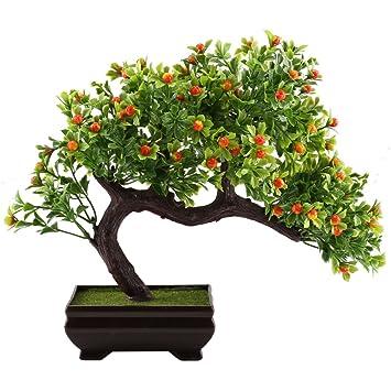 GTidea Fake Potted Plants Artificial Bonsai Plastic Pine Tree Home Office  Tabletop Zen Feng Shui Greenery