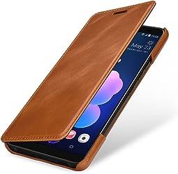 StilGut Housse pour HTC U12+ Book Type en Cuir véritable à Ouverture latérale, Cognac