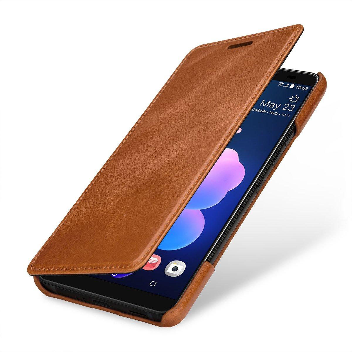 en Cuir v/éritable et /à Ouverture lat/érale Cognac STILGUT Housse Compatible avec HTC U12