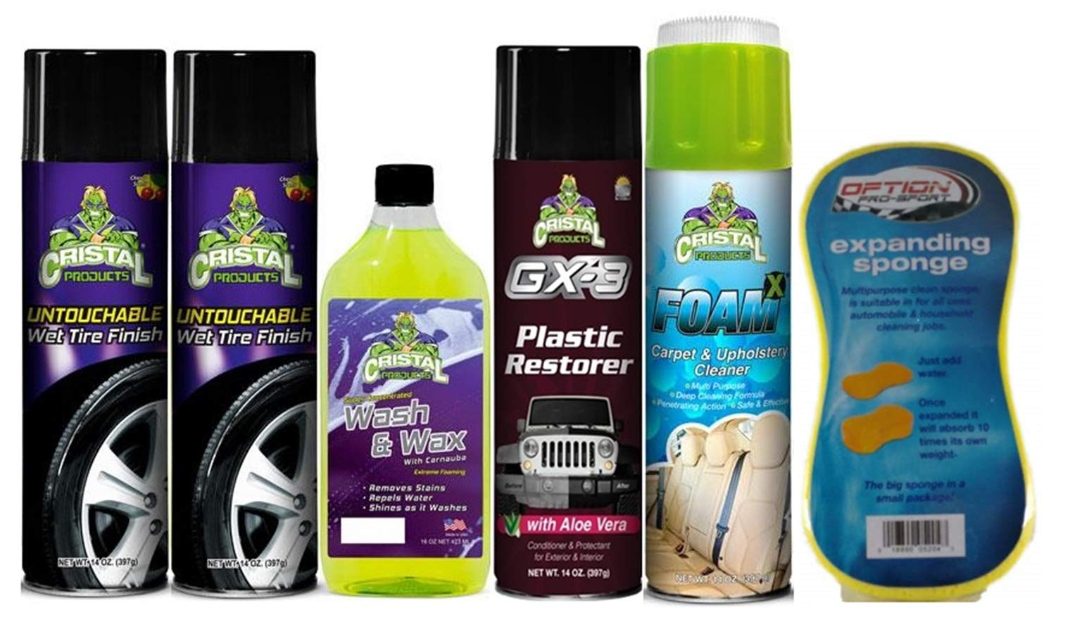 Cristal Products Untouchable Wet Tire Finish Bundle with GX-3 Plastic Restorer, Wash & Wax, and More (6 Items)