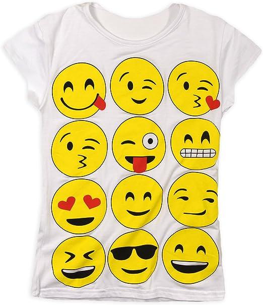 Kids Emoji Emoticons Smiley Faces Short Sleeve T-Shirts Tops Girls Pants 2-13y