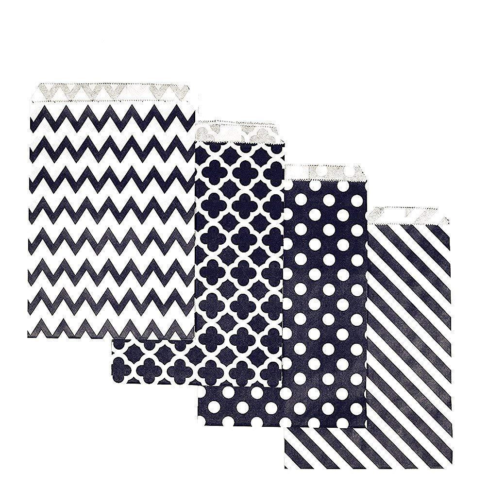 KIYOOMY 100 Pcs Candy Buffet Bags Small Paper Treat Bags (Black, 5 inch X 7 inch)