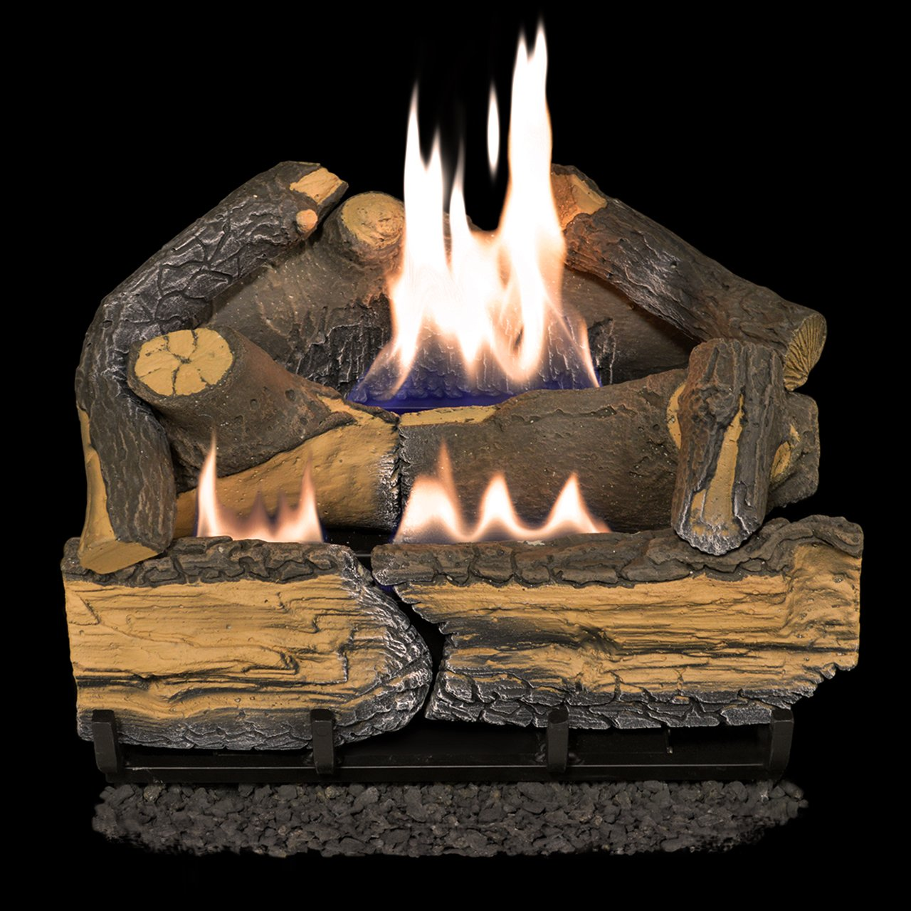 Cedar Ridge Hearth Recon 18-in 30,000-BTU Dual-Burner Vent-Free Gas Fireplace Logs with Thermostat CRHD18T
