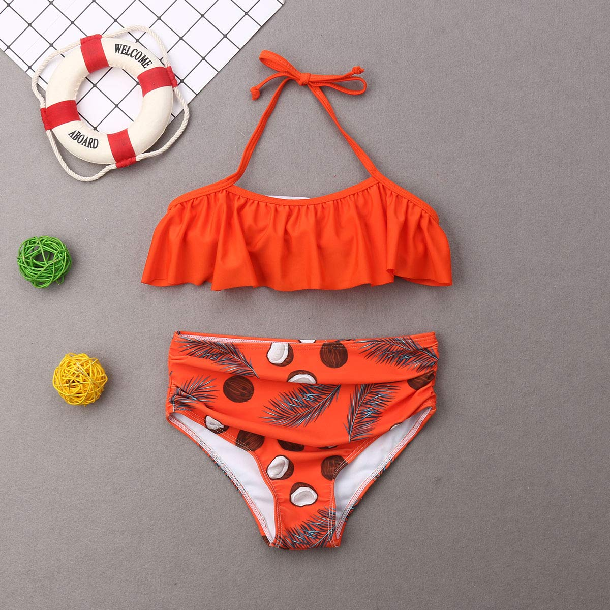 ICOOLTECH Mommy and Me Two Piece Bikini Set Father and Son Swim Trunks