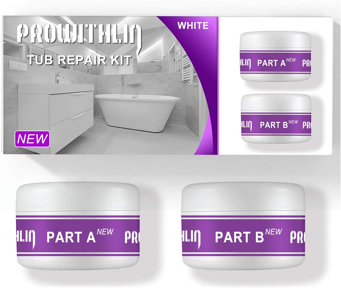 Tub, Tile, Porcelain and Shower Repair Kit Fiberglass Repair Kit Tub and  Tile Refinishing Kit - White (7.7oz) NEW VERSION