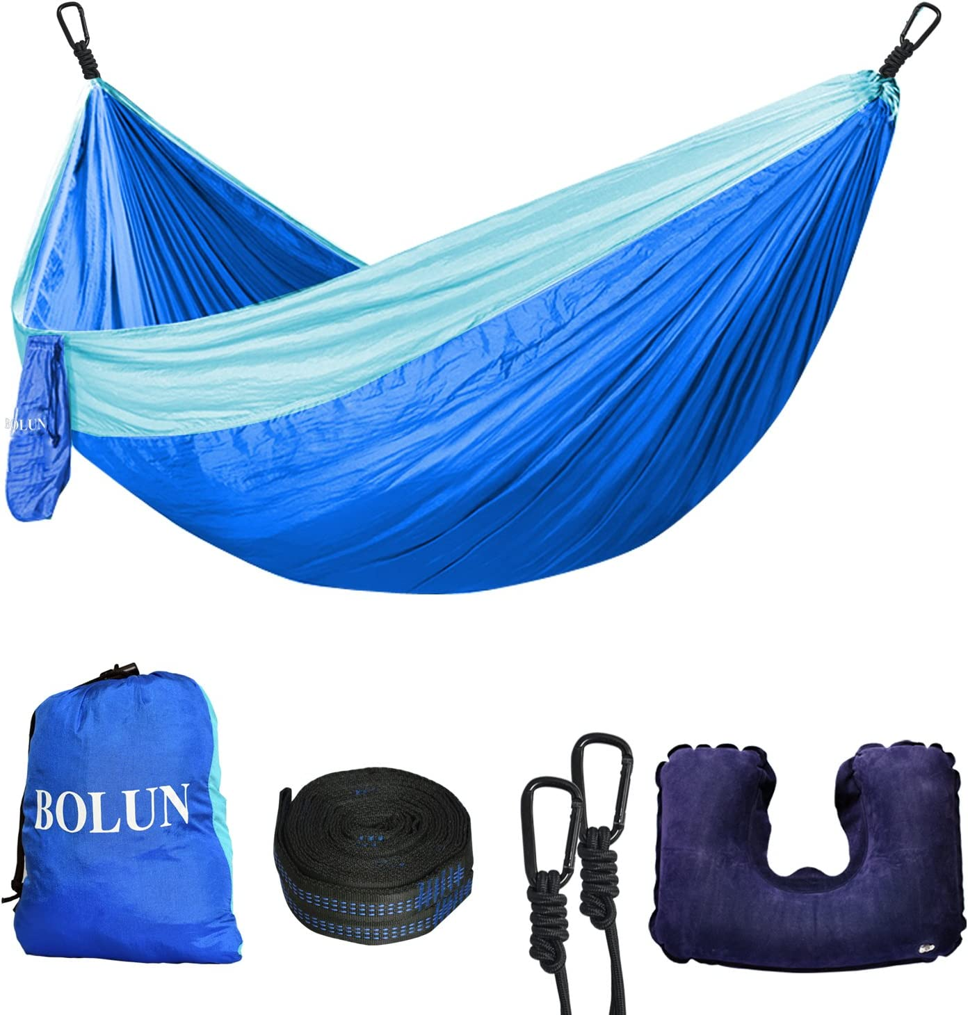 Camping Hammock Portable Lightweight Parachute Nylon Hammock with Tree Straps for Camping Travel Beach Yard Sky Blue and Blue