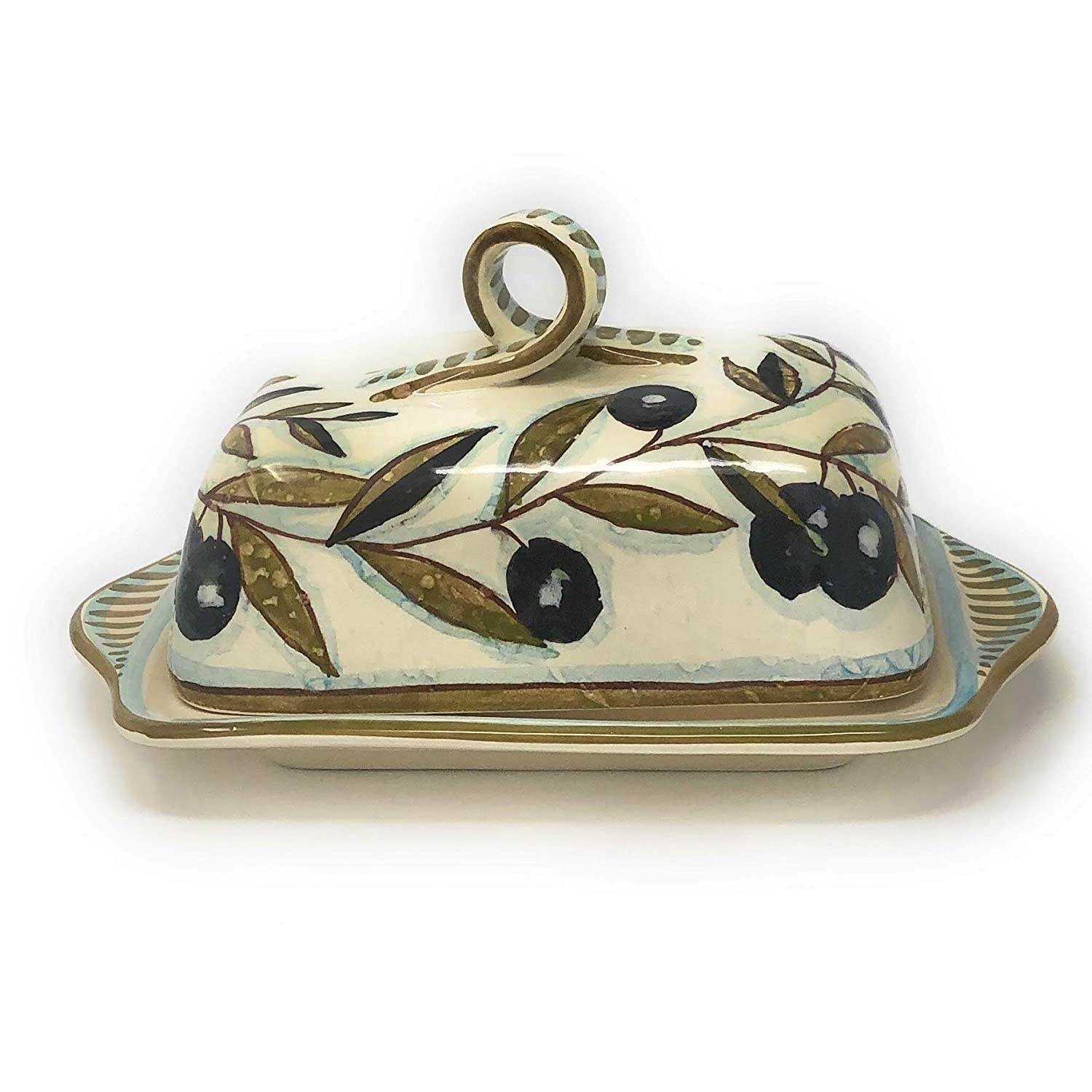CERAMICHE D'ARTE PARRINI- Italian Ceramic Butter Dish Hand Painted Decorated Country Made in ITALY Tuscan Art Pottery