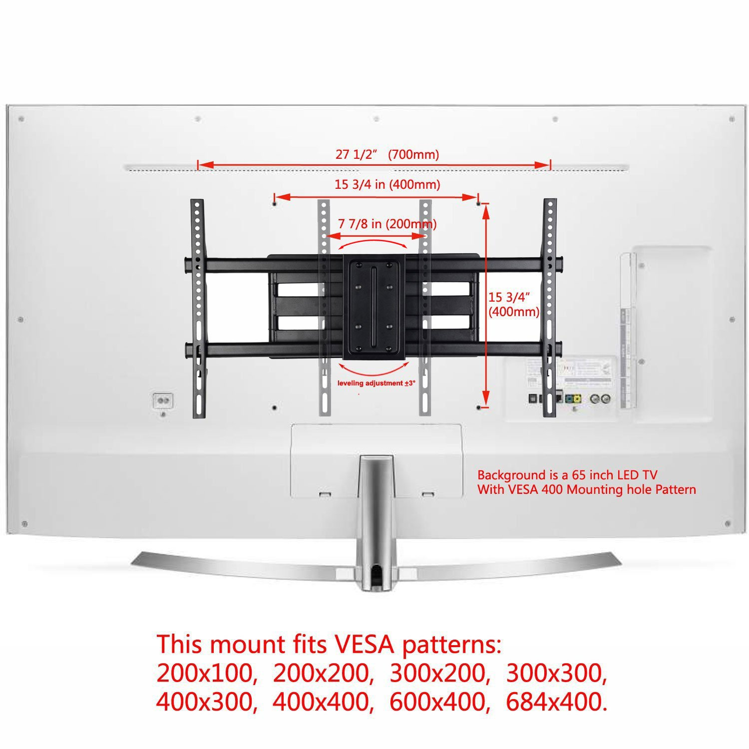 amazon com videosecu mw380b3 full motion articulating tv wall