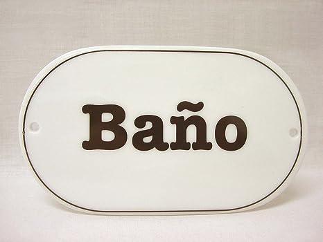 Placa Cartel Letrero Ovalada Puerta Pared BAÑO WC Aseo ...