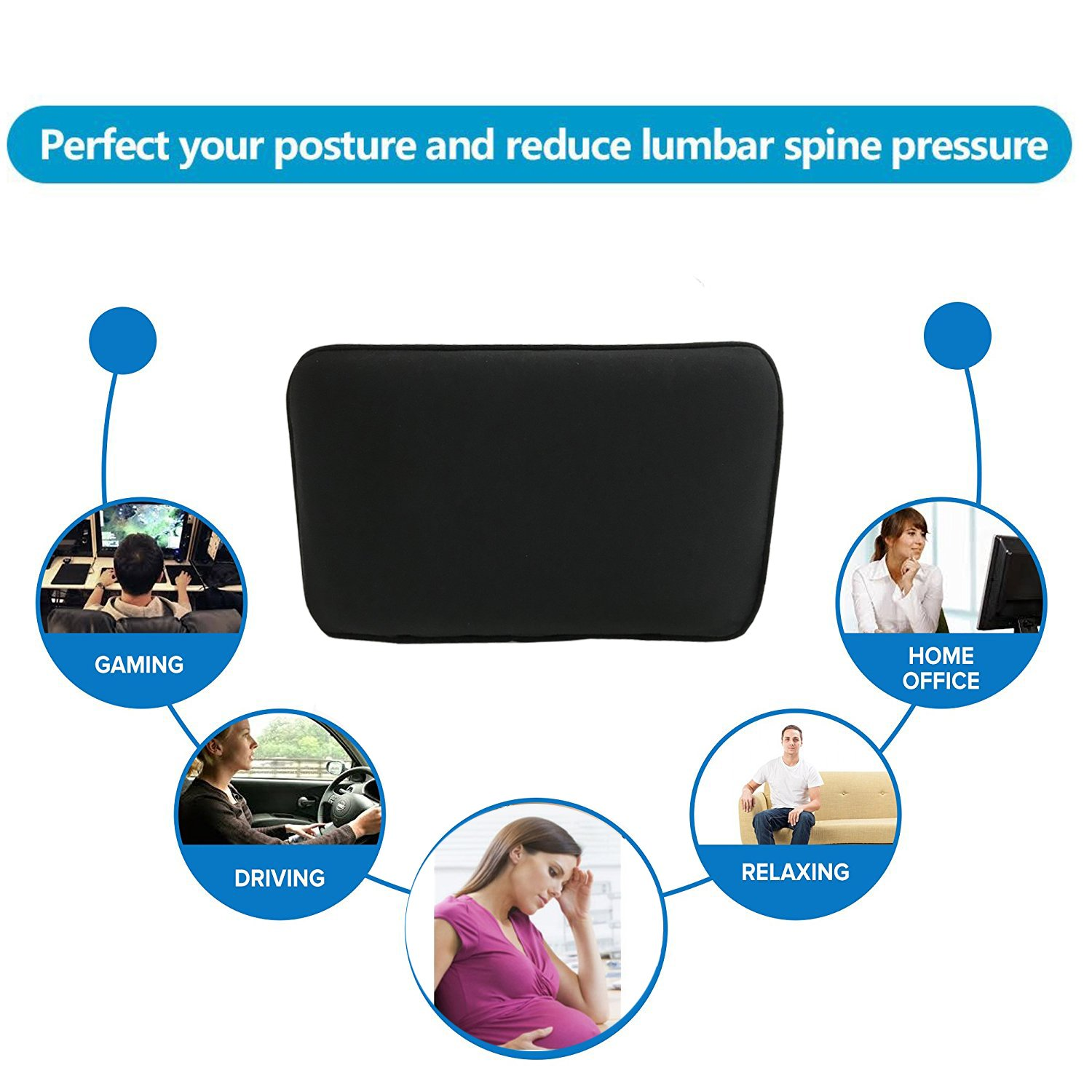 Coccyx /& Sciatica Pain Relief 2PC Tailbone Car Seat Cushion for Lower Back Hip Big Hippo Orthopedic Seat Cushion and Lumbar Support Pillow for Car Office Chair and Wheelchair Black Truck