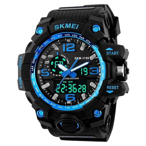 Skmei Relojes Digital Deportivos para Hombre Azul ,Resistente Al Agua Analógico Digital Militares Relojes Grandes con cuenta atrás/Doble Husos Horarios,LED ...
