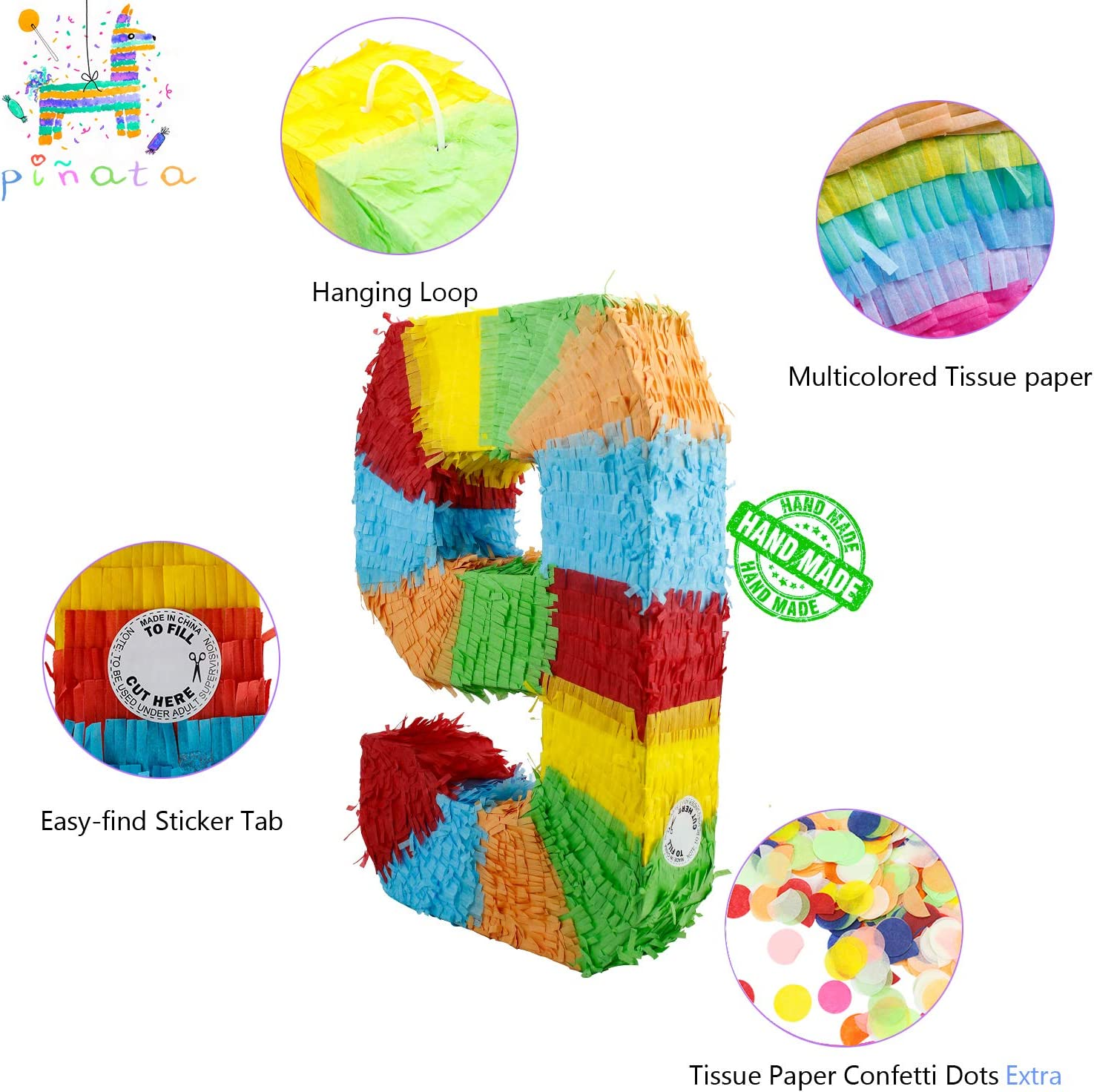kaimei Pinata Colorful Numbers for Kids Birthday Anniversary Celebration Decorations Gaming Theme Pet Party Fiesta Supplies with Multicolored Confetti Colorful Numbers Pinatas 0 1 2 3 4 5 6 7 8 9