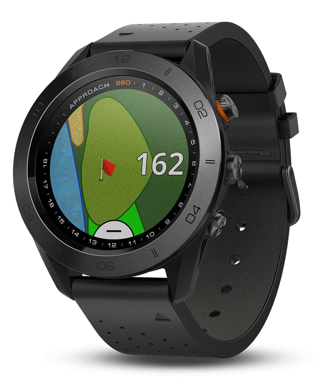Garmin Approach S60 (Premium) Gift Box Bundle | Includes Glass Screen Protector, PlayBetter USB Car/Wall Charging Adapters & Protective Hard Case | Golf GPS Watch (Ceramic Bezel/Black Leather Band) by PlayBetter (Image #2)