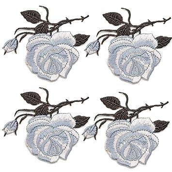 4 pcs Bordado Flores Parches DIY costura para chalecos chaquetas vestido camiseta pantalones vaqueros falda bufanda bolsa Bordados Ropa