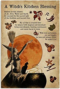 Eeypy Vintage Halloween A Witch is Kitchen Blessing Poster Art for Home Decor Pub Funny Novelty Coffee Shop Restroom Club Yard Garden Farm Wall Decor Poster Street Metak Tin Signs 8x12 Inch