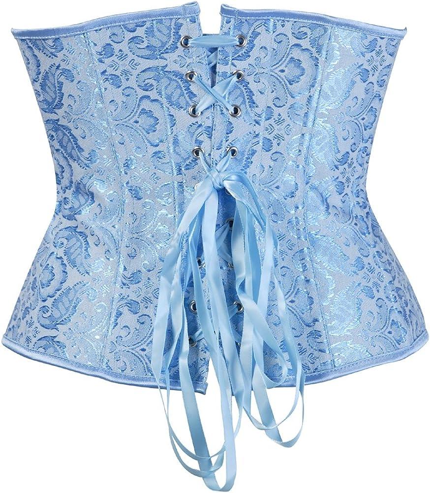 Grebrafan Gothic Bridal Wedding Steel Boned Corsets Waist Training Underbust Plus Size