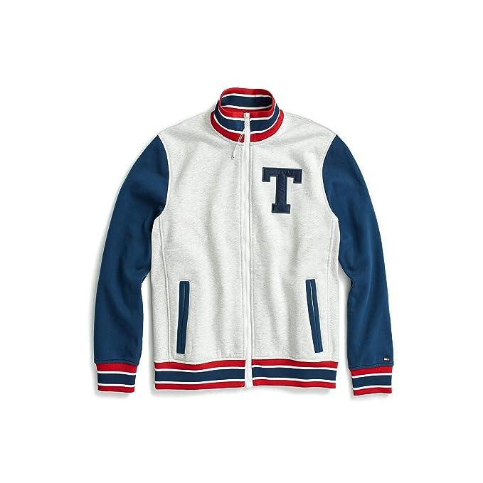 Tommy Hilfiger mens Retro Varsity Bomber Colorblock Track Jacket Varsity Jacket