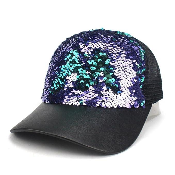 8f6771766e921 HBBCEED Men Women Luxury Sequins Shinning Summer Mesh PU Baseball ...