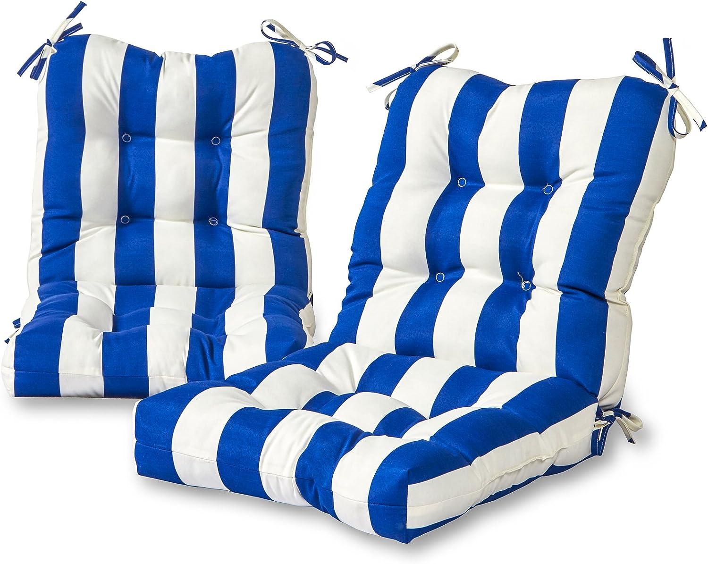 Greendale Home Fashions AZ6815S2-CABANA-BLUE Bungalow Stripe Blue Outdoor Chair Cushion (Set of 2)