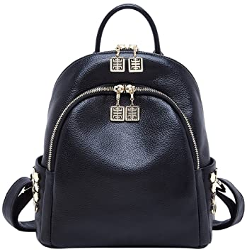 61fc165b75 Amazon.com  BOYATU Genuine Leather Backpack for Women Designer Mini Purse  Fashion Bag (Black)  Boyatu