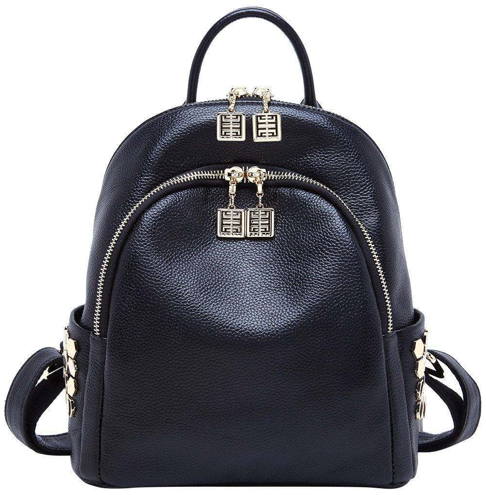 BOYATU Genuine Leather Backpack for Women Travel Bag Girls Mini Shoulder Purses (Black)