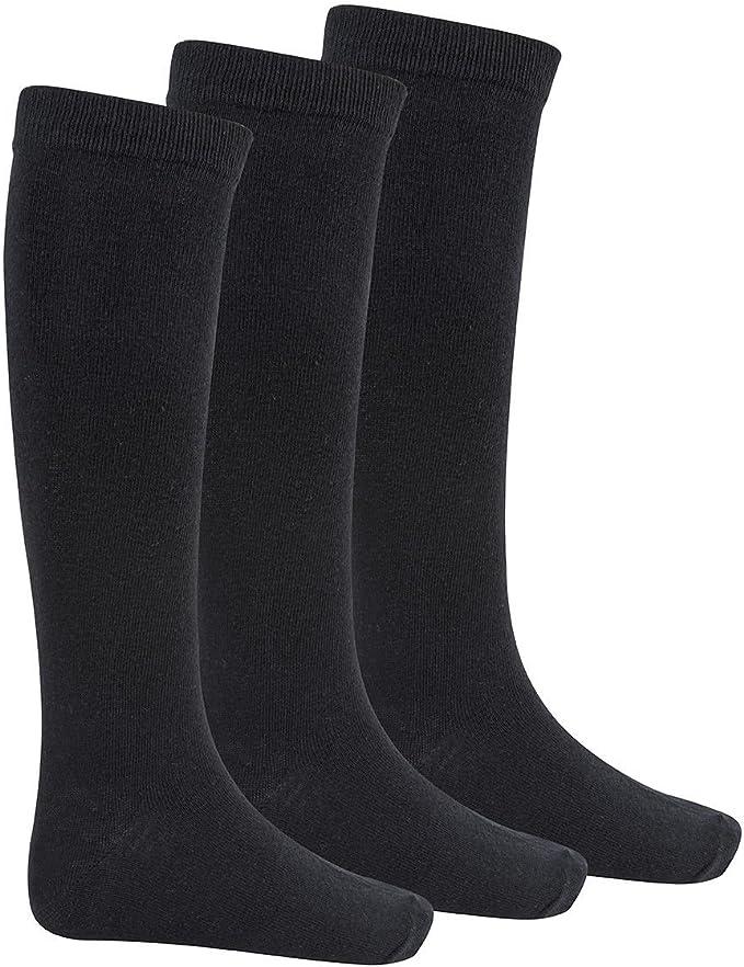 Girls Knee High Socks Kids New Cotton Rich School Socks 3 PACK Black Grey Navy