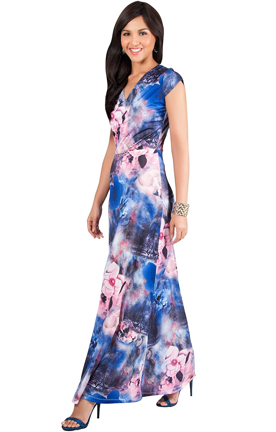 Royal bluee and Pink Koh Koh Womens Long Cap Sleeve Floral Print VNeck Boho Flowy Summer Maxi Dress