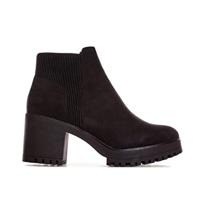 9ed909e8f041 Truffle Collection Womens Womens Chunky Block Heel Chelsea Boots in Black - UK  7