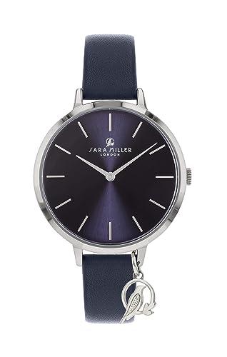 Sara Miller The Charm Collection SA2037 - Reloj con Correa de Piel bañada en Plata: Amazon.es: Relojes
