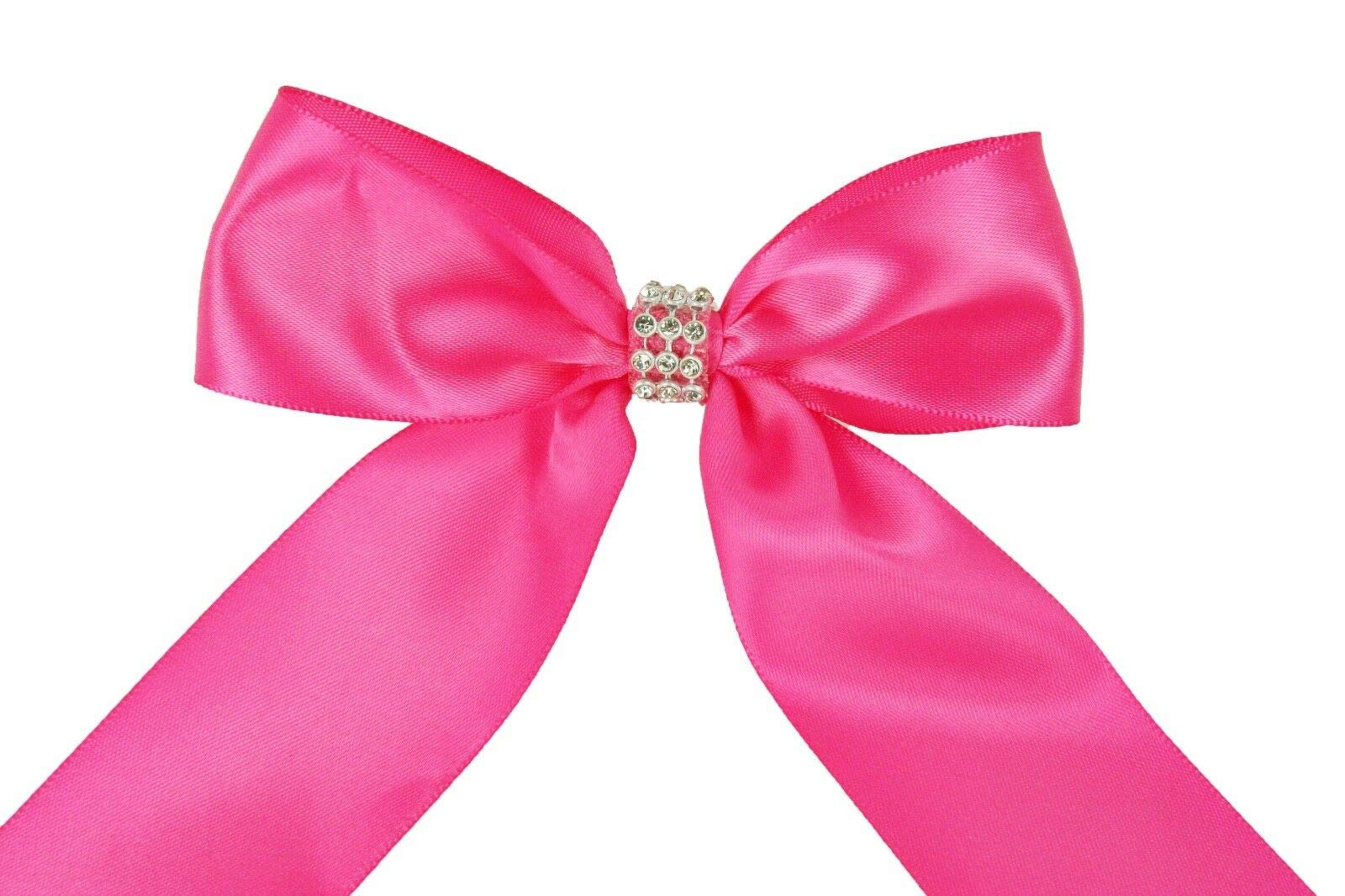 Bright Sun Hot Pink (Set of 10) Pre-Made 1-1/2'' Satin Bows Rhinestone Center Design with Wire Tie #DPNH