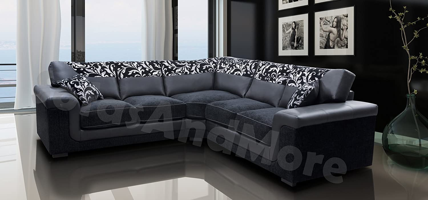 Harmony Corner Sofa Black Faux Leather Fabric Settee Amazon