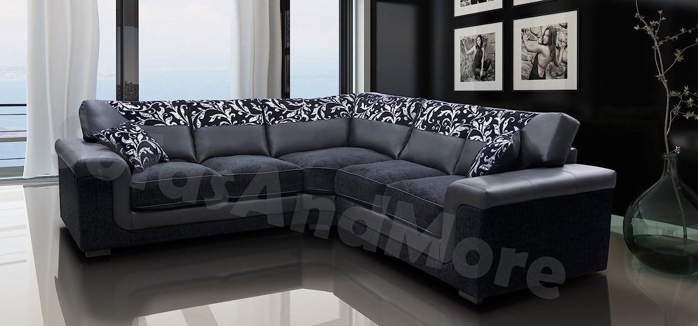 Amazing Black Sofa Part - 13: Harmony Corner Sofa Black Faux Leather Fabric Settee: Amazon.co.uk: Kitchen  U0026 Home