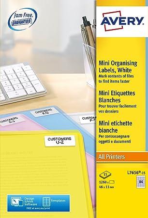 Avery España L7656-15 - Pack de 1260 mini etiquetas blancas para impresoras láser,