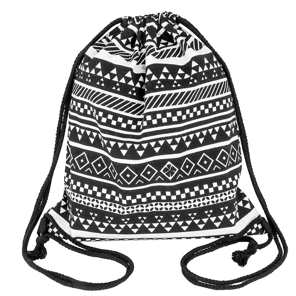 peicees DrawstringバックパックキャンバスGymsack巾着バッグスポーツSackpack旅行学校バックパックメンズレディースボーイズ、ガールズ B0793N6FW2 ブラック ブラック