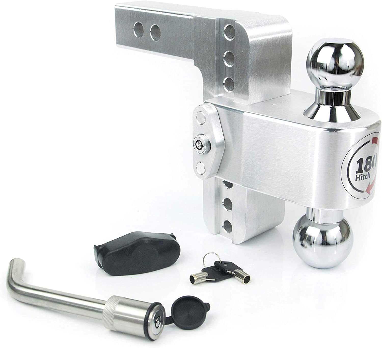 Weigh Safe CTB8-2-KA 8 Drop 180 Hitch w// 2 Shank//Shaft 2 /& 2-5//16 Adjustable Aluminum Trailer Hitch /& Ball Mount Chrome Plated Steel Combo Ball /& Matching Key Lock and Receiver Pin/…