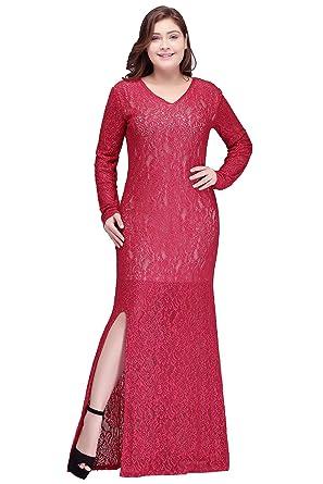 Women Side Slit Lace Plus Size Evening Party Dresses Long Sleeve