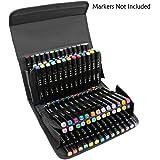Niutop 80 slot Marker caso cassa di matita portatile con connessione Velcro con cinghia regolabile per marcare penna da 15mm a 22 millimetri di diametro (Negro)