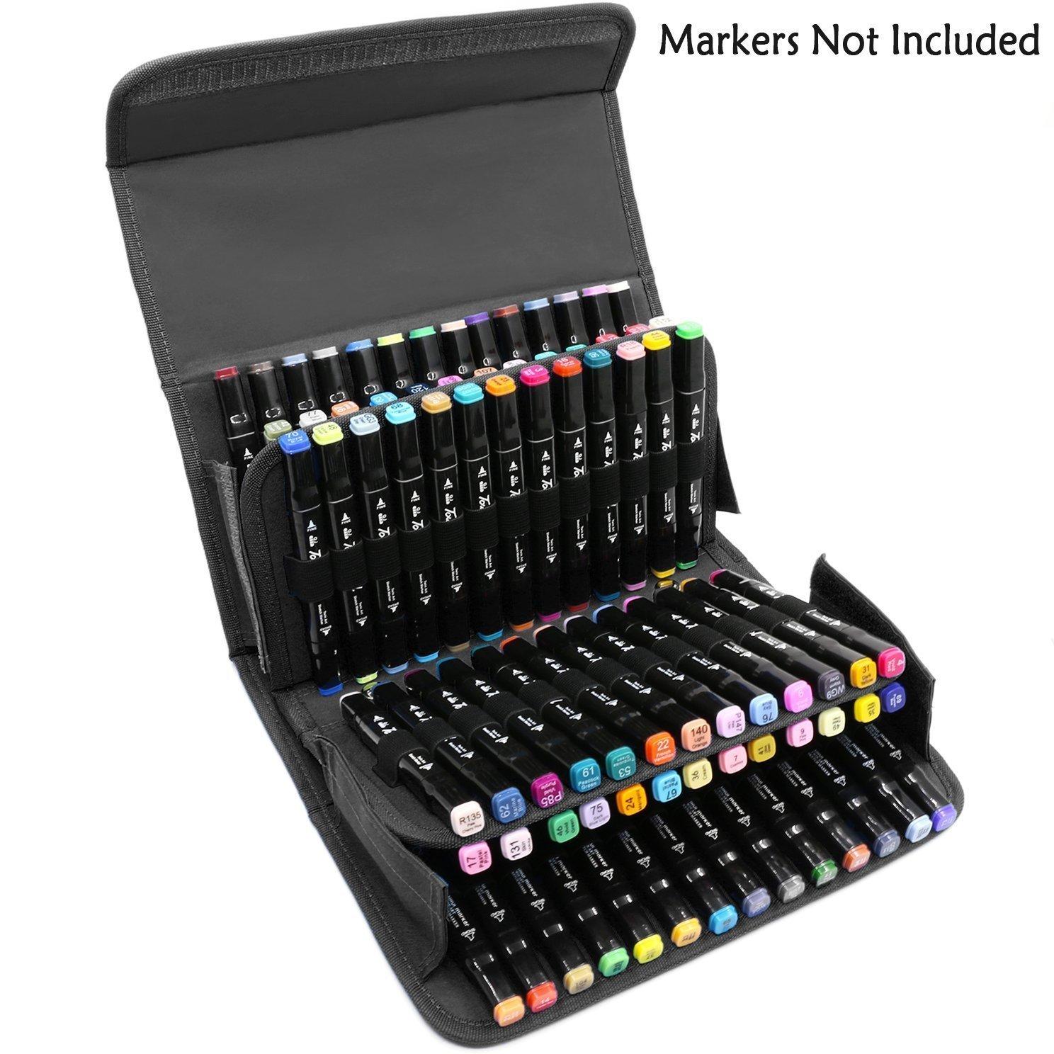 Niutop 80 slot Marker caso cassa di matita portatile con connessione Velcro con cinghia regolabile per marcare penna da 15mm a 22 millimetri di diametro (Rosa)