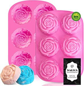 Walfos Silicone Rose Mold - 2 Pcs Large Rose Flower Soap Mold, Food Grade Silicone and BPA Free, Perfect for Soap, Mousse, Cake, Jelly, Chocolate, Dishwasher Safe