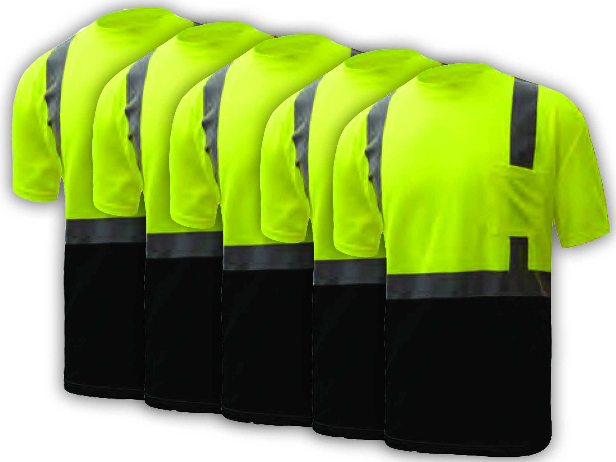 5 PACK: Class 2 Black Bottom T-Shirt (Tall: Large) GSS Safety