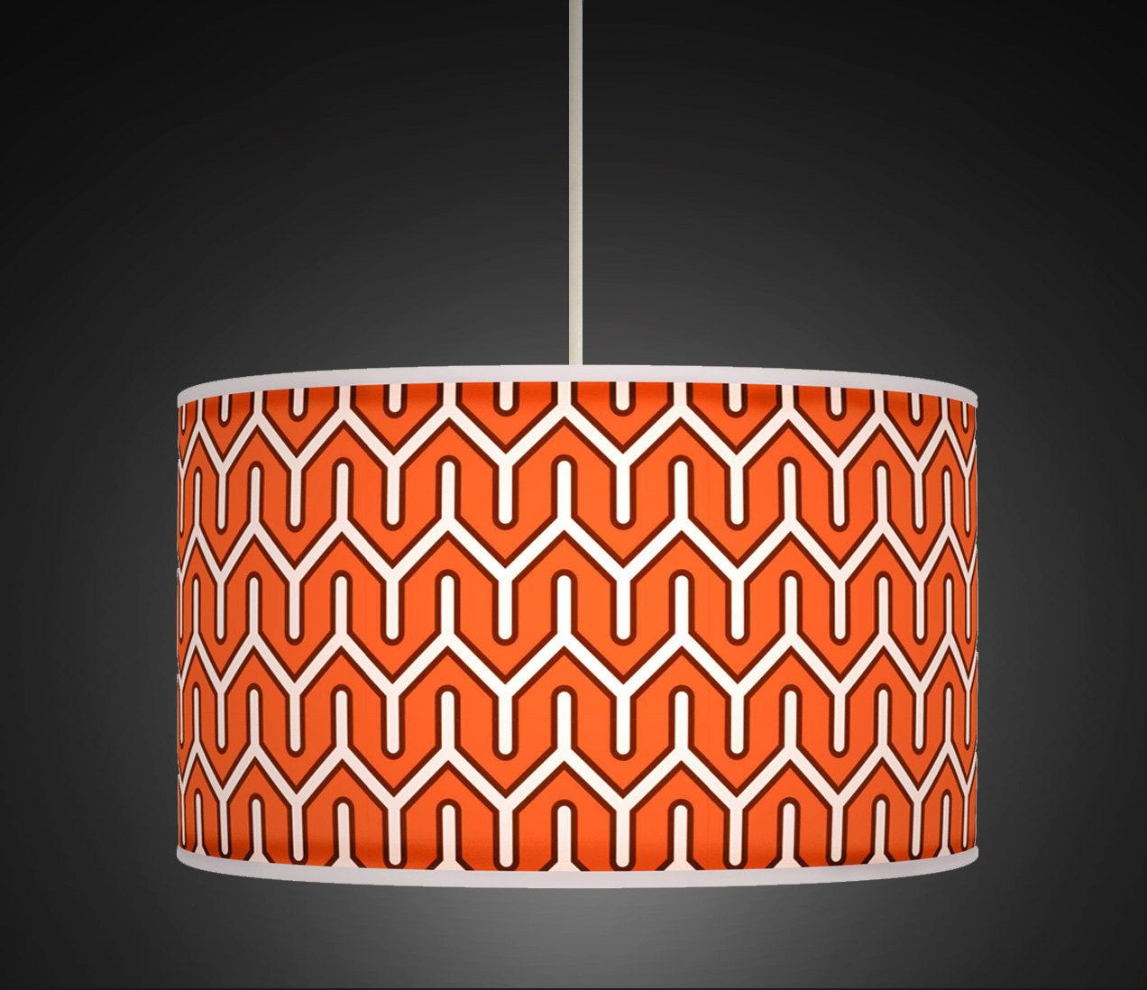 50cm 20 burnt orange white retro geometric handmade printed 50cm 20 burnt orange white retro geometric handmade printed fabric lamp drum lampshade large lampshade floor or ceiling pendant light shade 535 aloadofball Choice Image