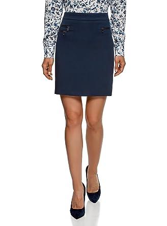 519e63ec5e71 oodji Ultra Femme Jupe Droite Décorée de Zips  Amazon.fr  Vêtements ...
