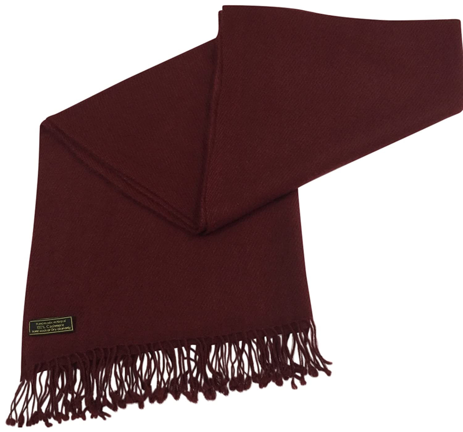 Burgundy Beige High Grade 100% Cashmere Shawl Scarf Wrap Hand Made in Nepal NEW