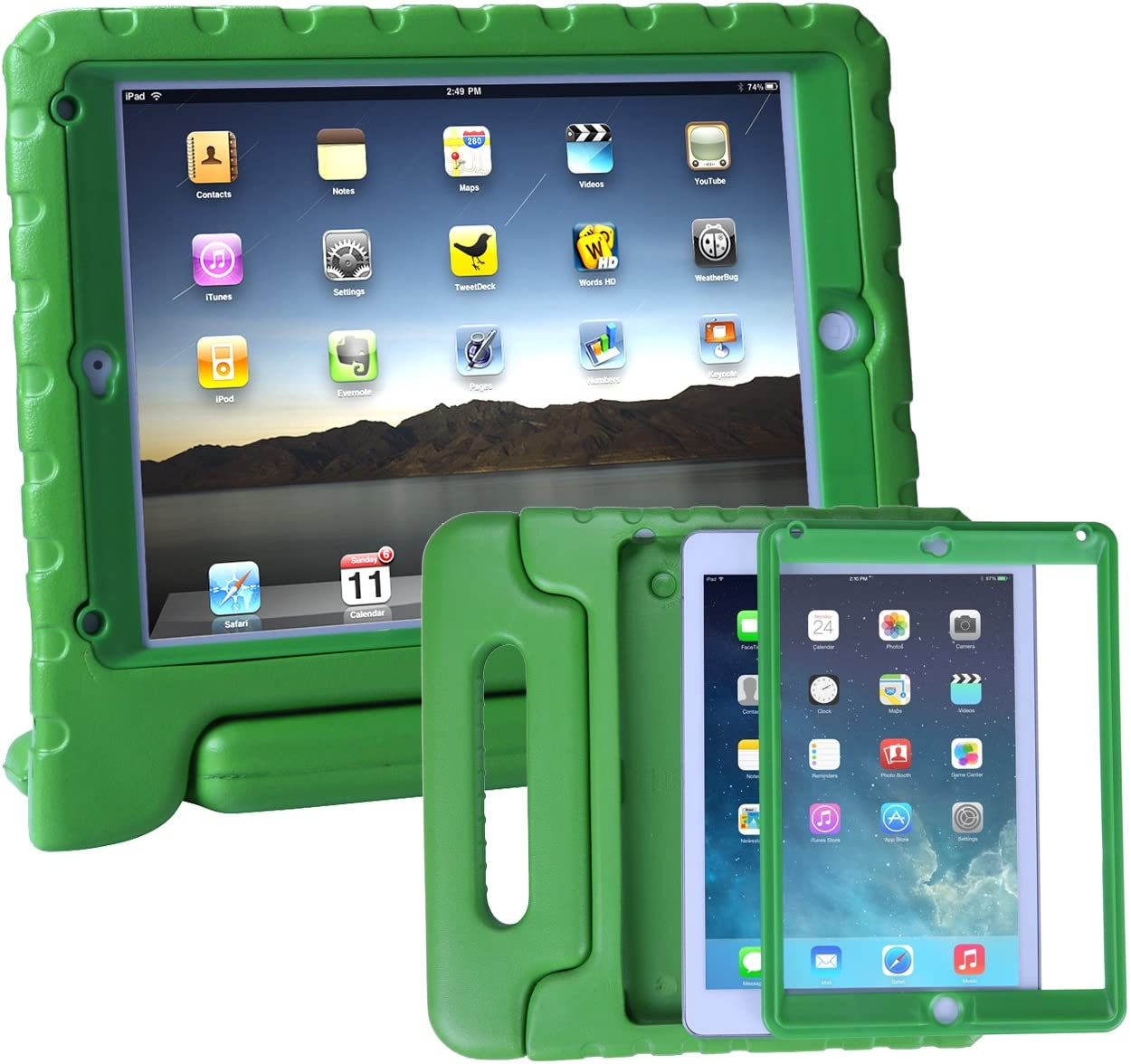 HDE Case for iPad Air - Kids Shockproof Bumper Hard Cover Handle Stand with Built in Screen Protector for Apple iPad Air 1 - 2013 Release 1st Generation (Green)