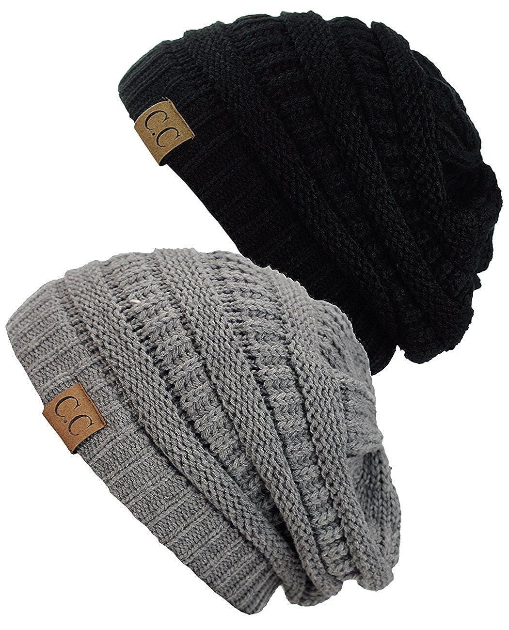 Gravity Threads Women's Knit Beanie Cap Hat (2 Pack) Beige/Dark Denim