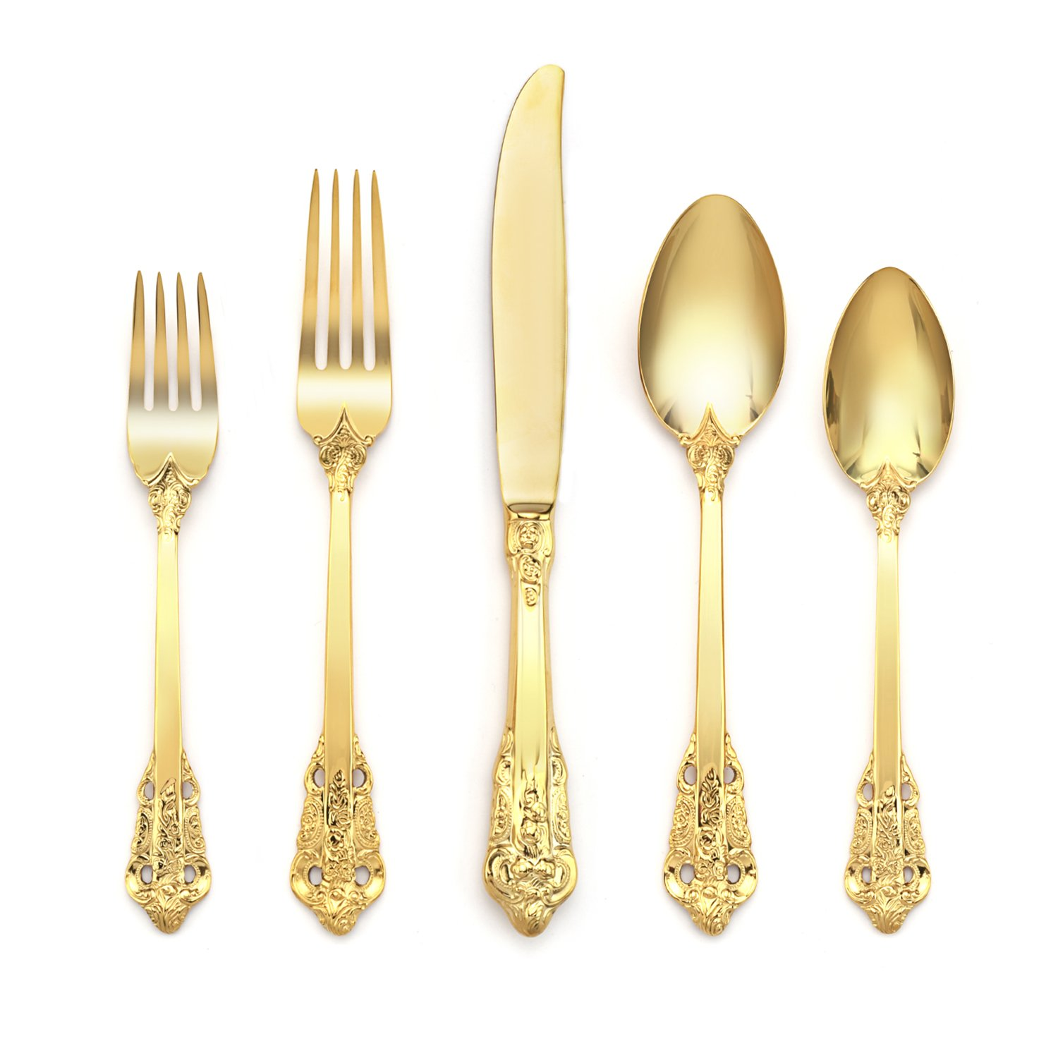 Deacory Elegant Flatware 5 Piece Service for One Stainless Steel 18/10 Shiny Mirror Polish Gold Set Wedding Event Gift Restaurant Use