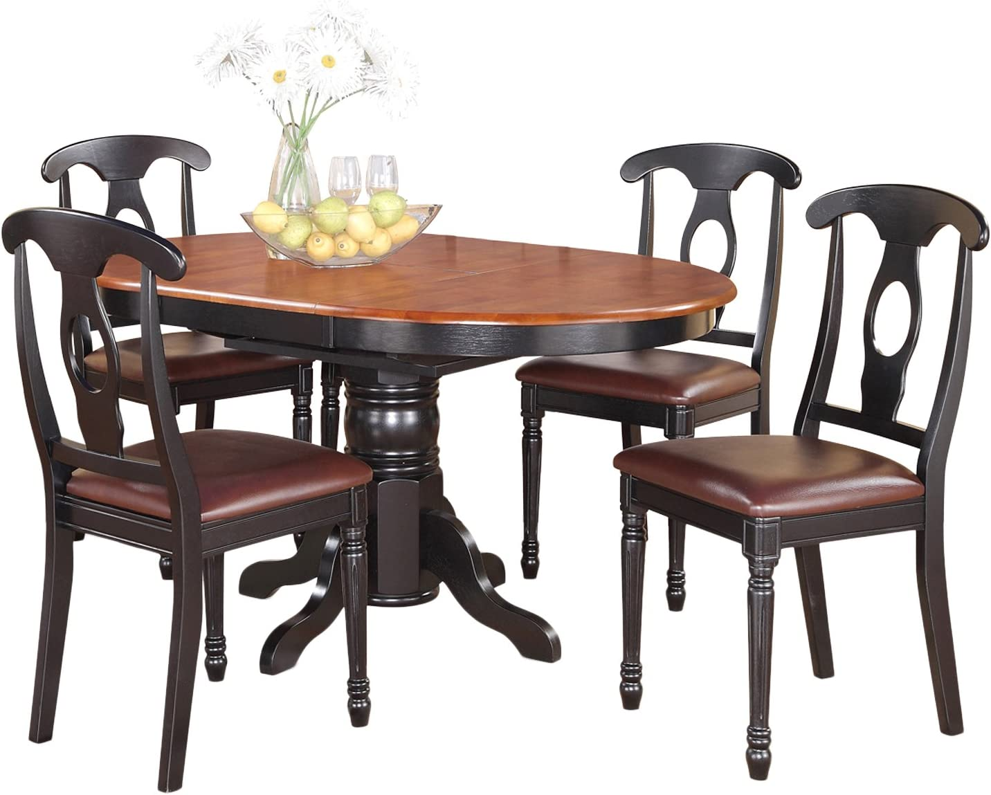 KENL5-BLK-LC 5 Pc Dining room set for 4-Oval Dining Table and 4 Dining Chairs.