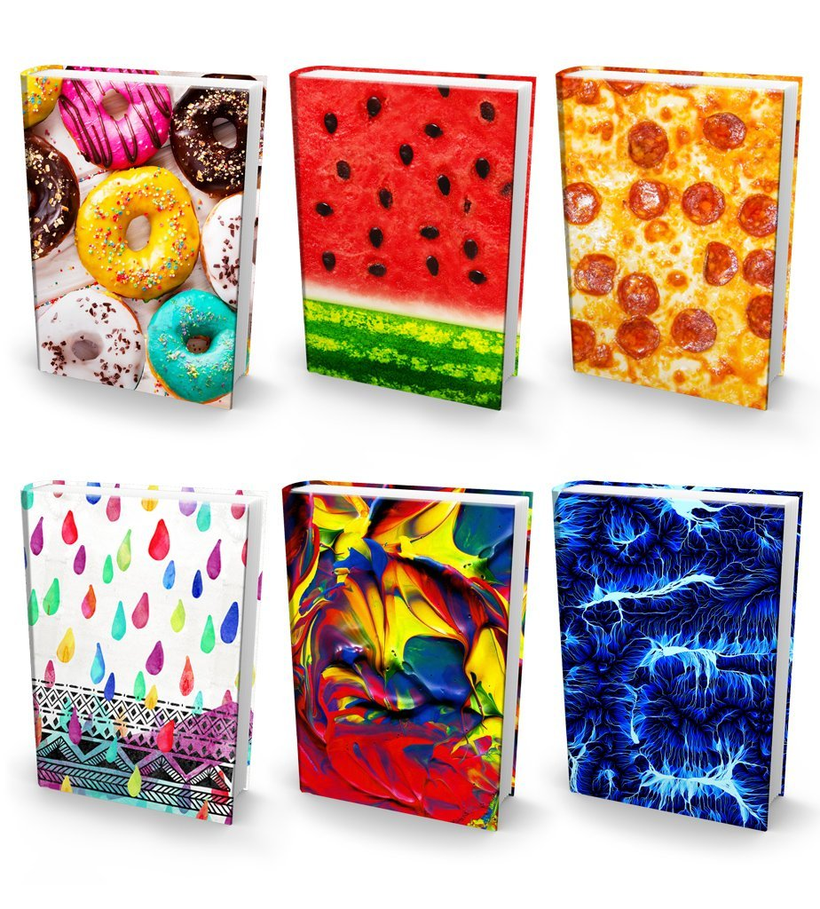 """Book Sox Stretchable Book Covers – Bundle of 6 Durable Hardcover Protectors For 9"""" x 11"""" Jumbo Textbooks – Washable & Reusable Non-Adhesive Nylon Fabric School Book Jackets In Jumbo Ultra Print 2018"""