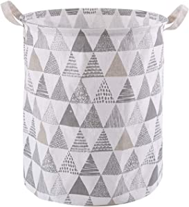 "Sweet Town 17.5"" Large Collapsible Laundry Basket with Handles, Waterproof Cotton & Linen Foldable Clothes Hamper, Nursery Storage (Triangle Pattern-Grey)"